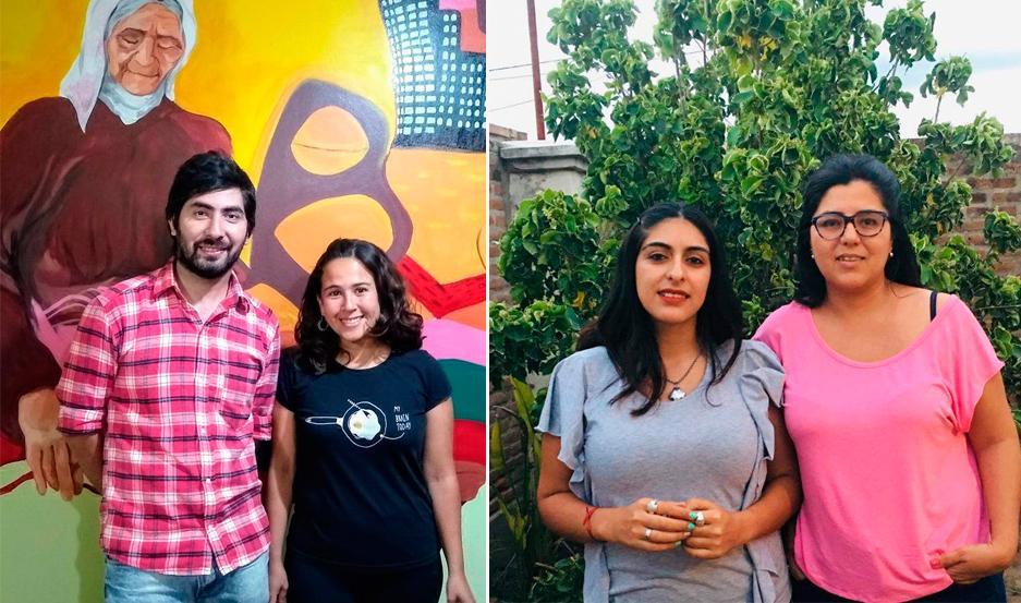 CANDIDATOS. Ángela Díaz y José Pallares (izquierda) encabezan la lista Entramado Colectivo; Verónica Gema y Paula Acuña, van por Reto Social, a las elecciones del próximo jueves.
